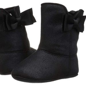 Baby Deer Black Bow Boots Sz 1